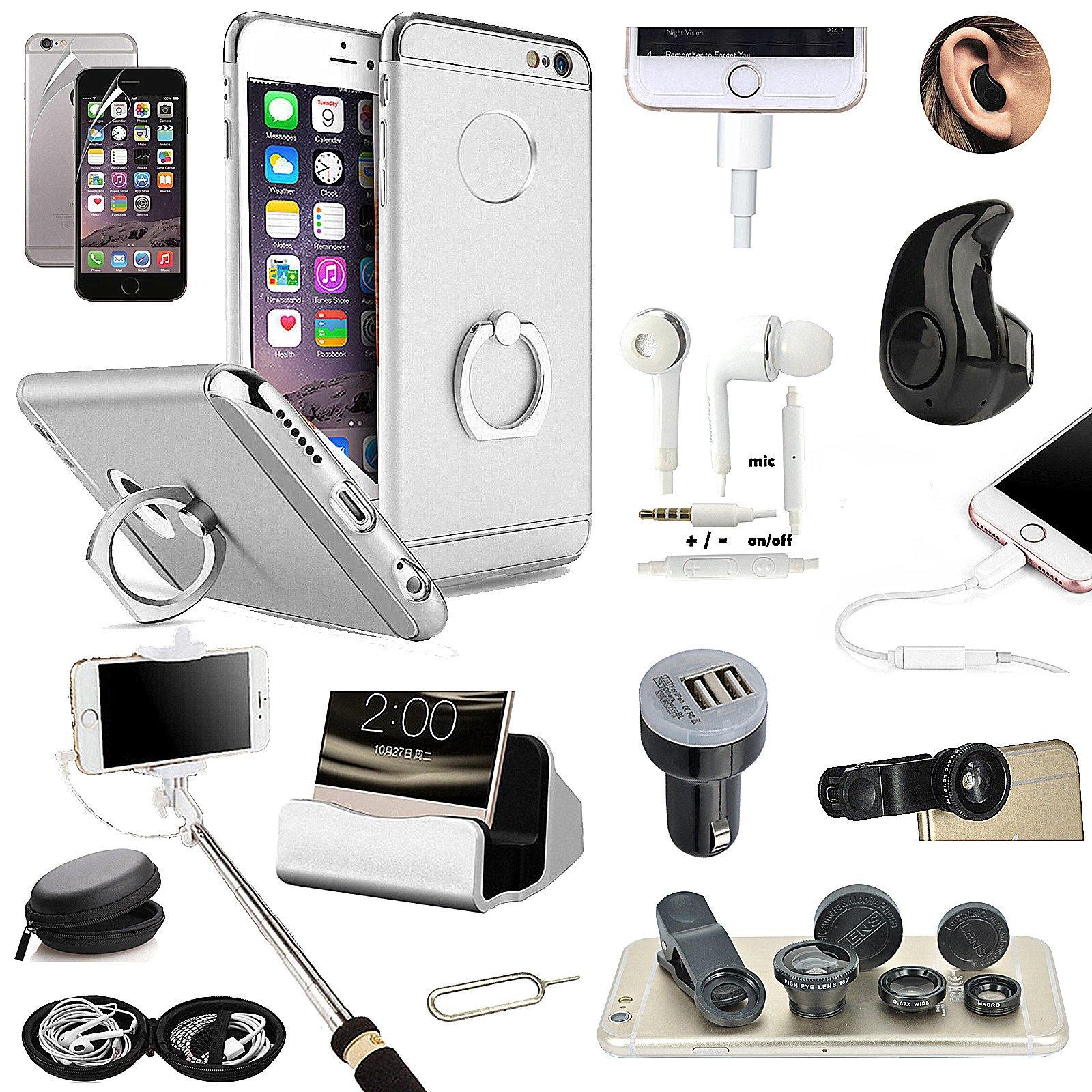 sliver ring holder case cover bluetooth earphone selfie stick lens for iphone 7 ebay. Black Bedroom Furniture Sets. Home Design Ideas