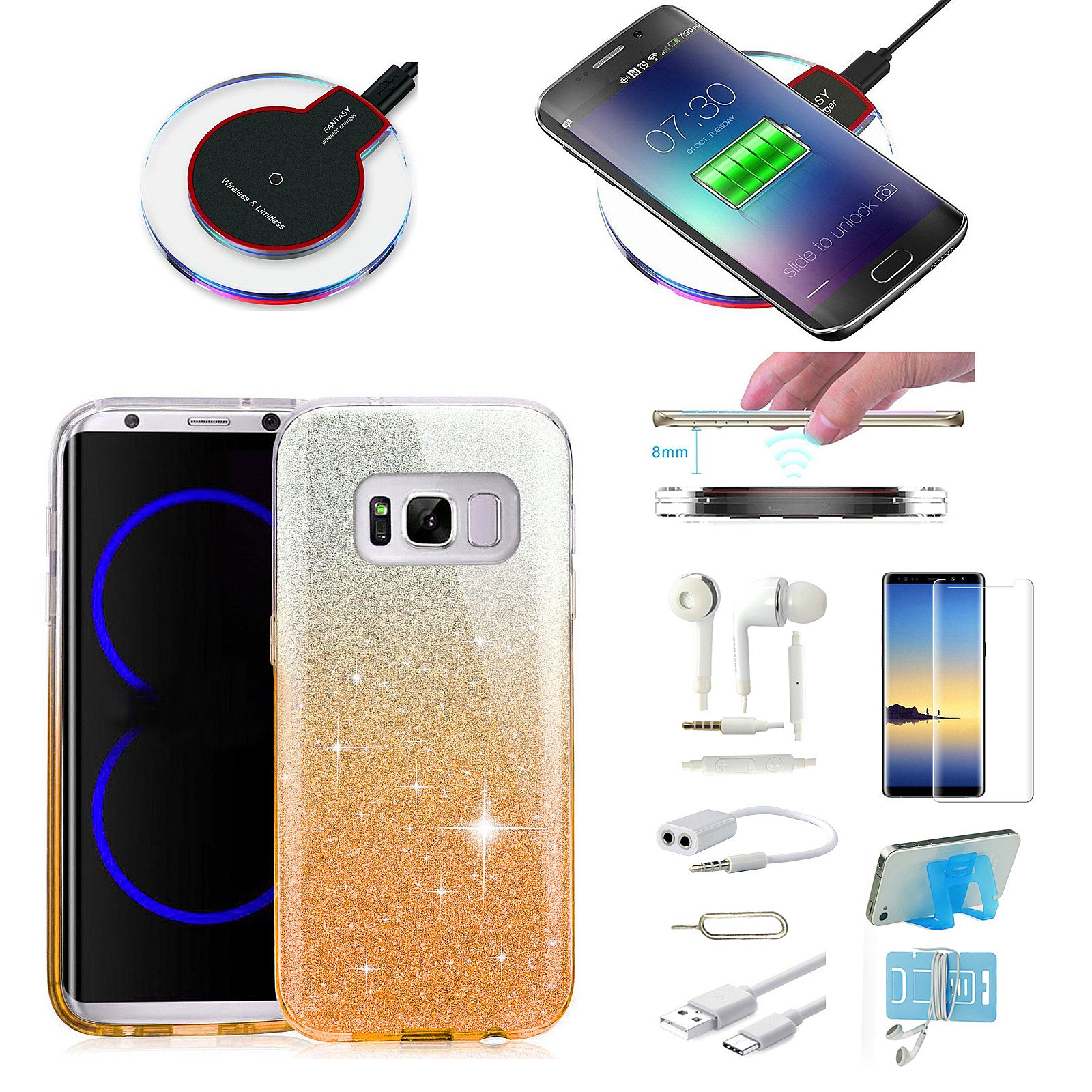 9 X Case Wireless Charger Accessory Bundle For Samsung