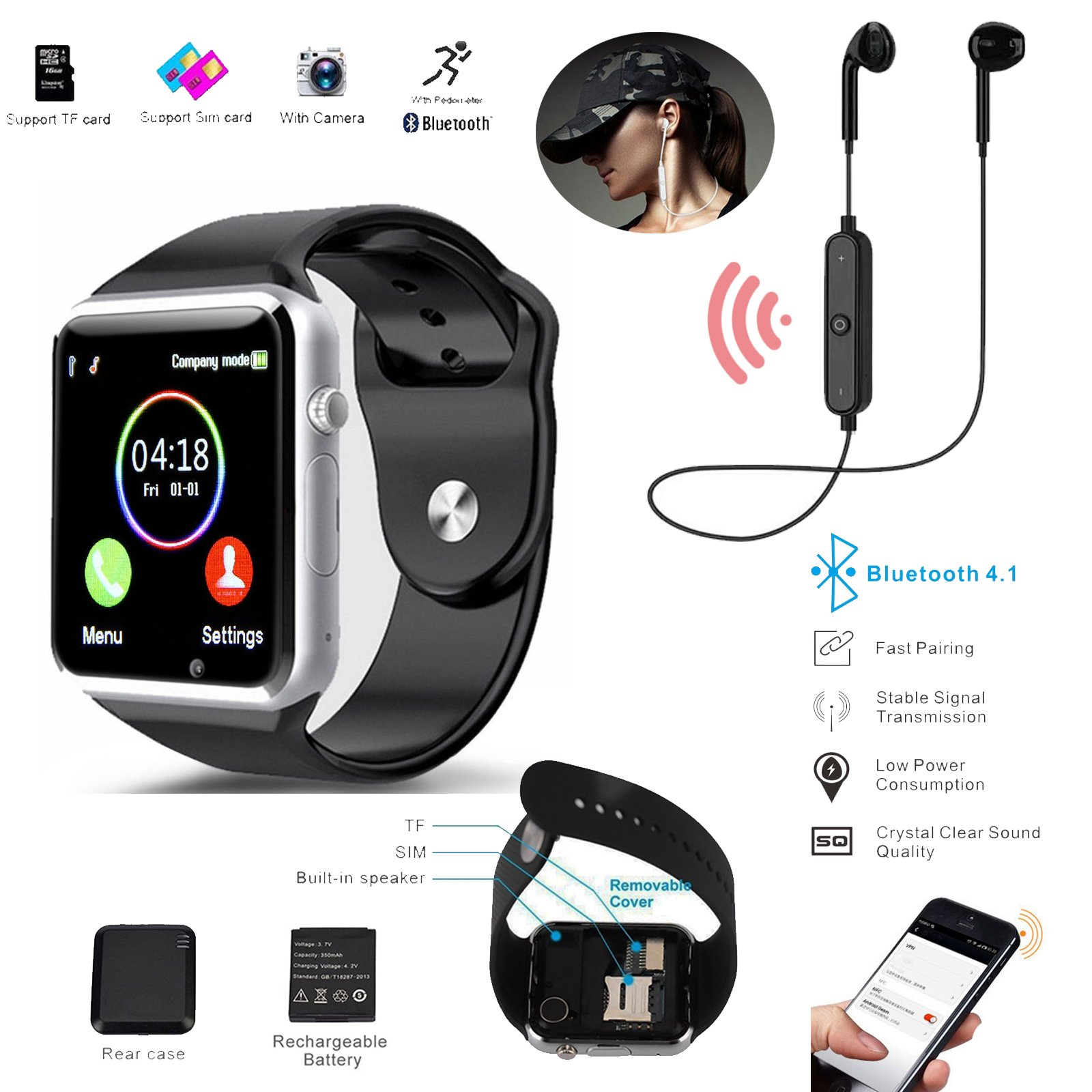 Android Ios Smart Watch With Sim Card Camera Phone