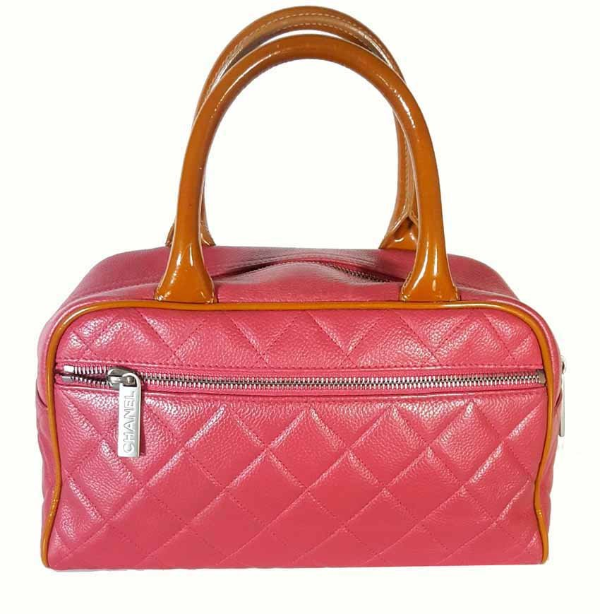Details about AUTHENTIC Chanel Red Tan Quilted Caviar Leather Small Bowling Tote  Bag 909d418cc3