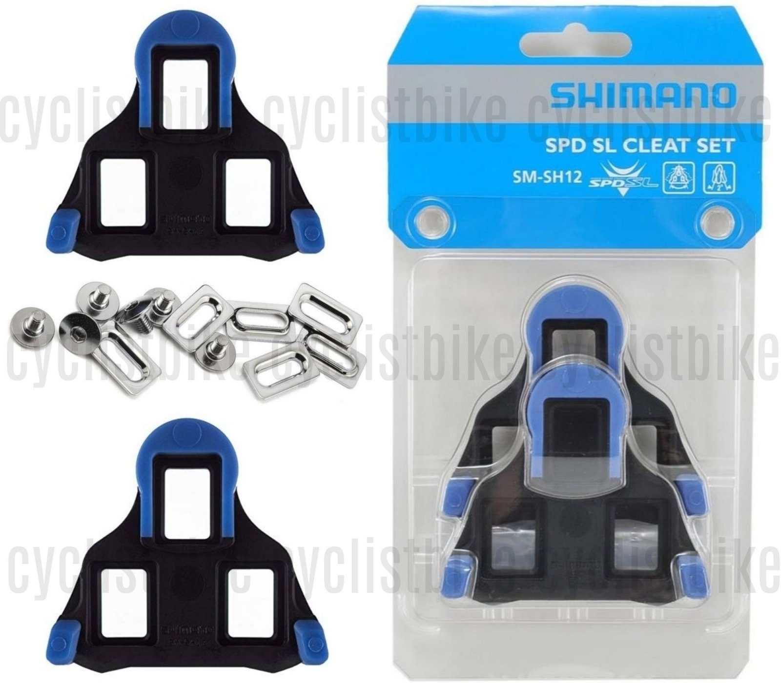 Genuine Shimano SPD-SL SM-SH12 Blue 2° Road Cleat Replacement Cleats fixed
