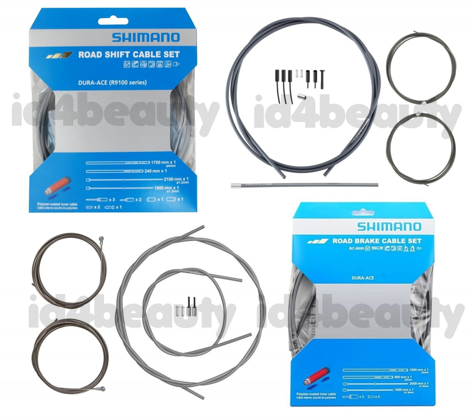 Shimano Dura Ace RS900 R9100 Polymer Coated Shift Cable Set FREE End Caps Gray