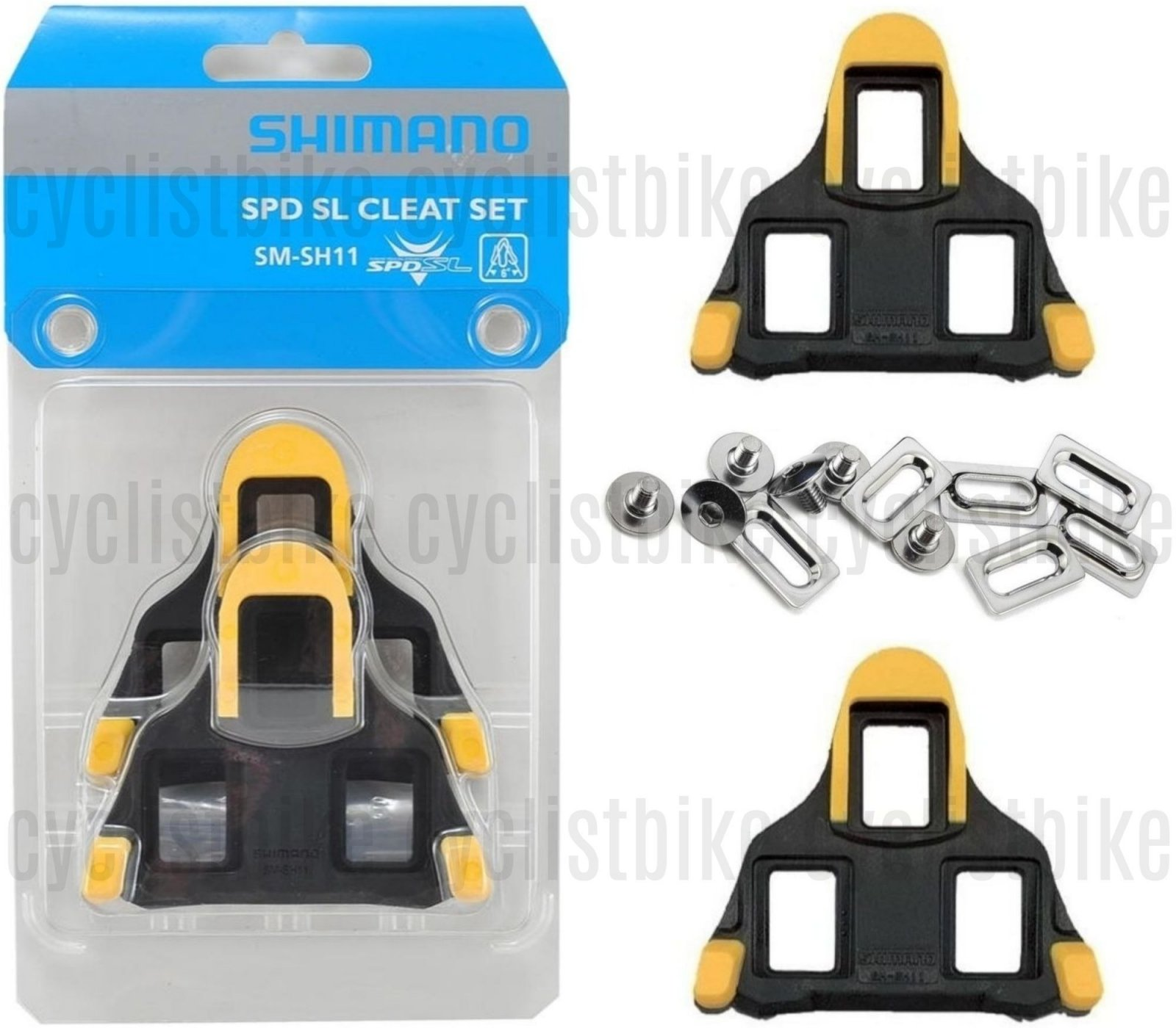 Genuine Shimano SM-SH11 SPD-SL Road Cleat Set Cleats 6° Yellow w//Hardware