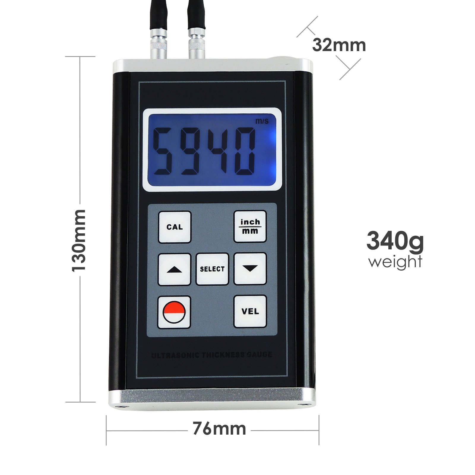 Details about Ultrasonic Thickness Gauge Meter Aluminum Steel Cast Iron  Pipes 0 9~400mm Range