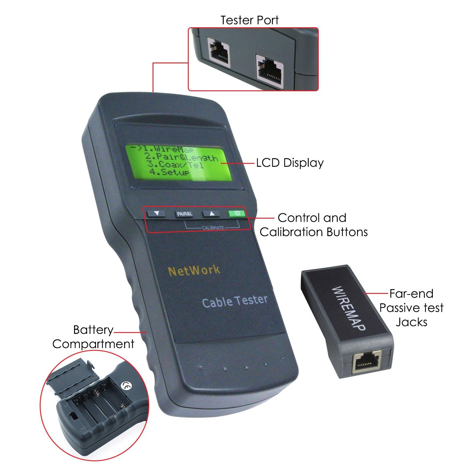 Digital Network Cable Meter Tester Length Scan Rj45 Stp