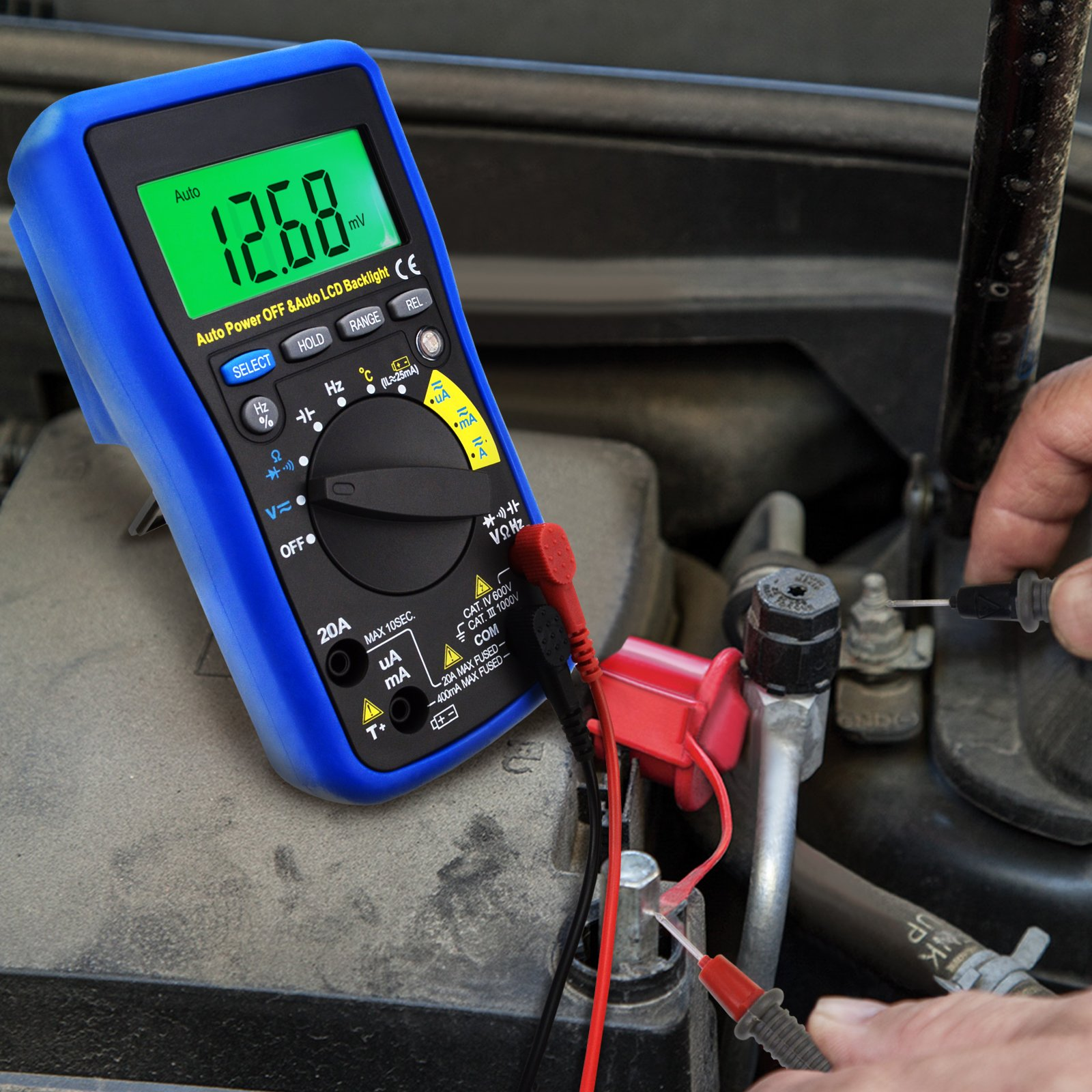 Measure AC & DC voltage, AC & DC current, resistance, frequency,  capacitance, temperature, battery test, duty cycle, audible continuity and  positive diode ...