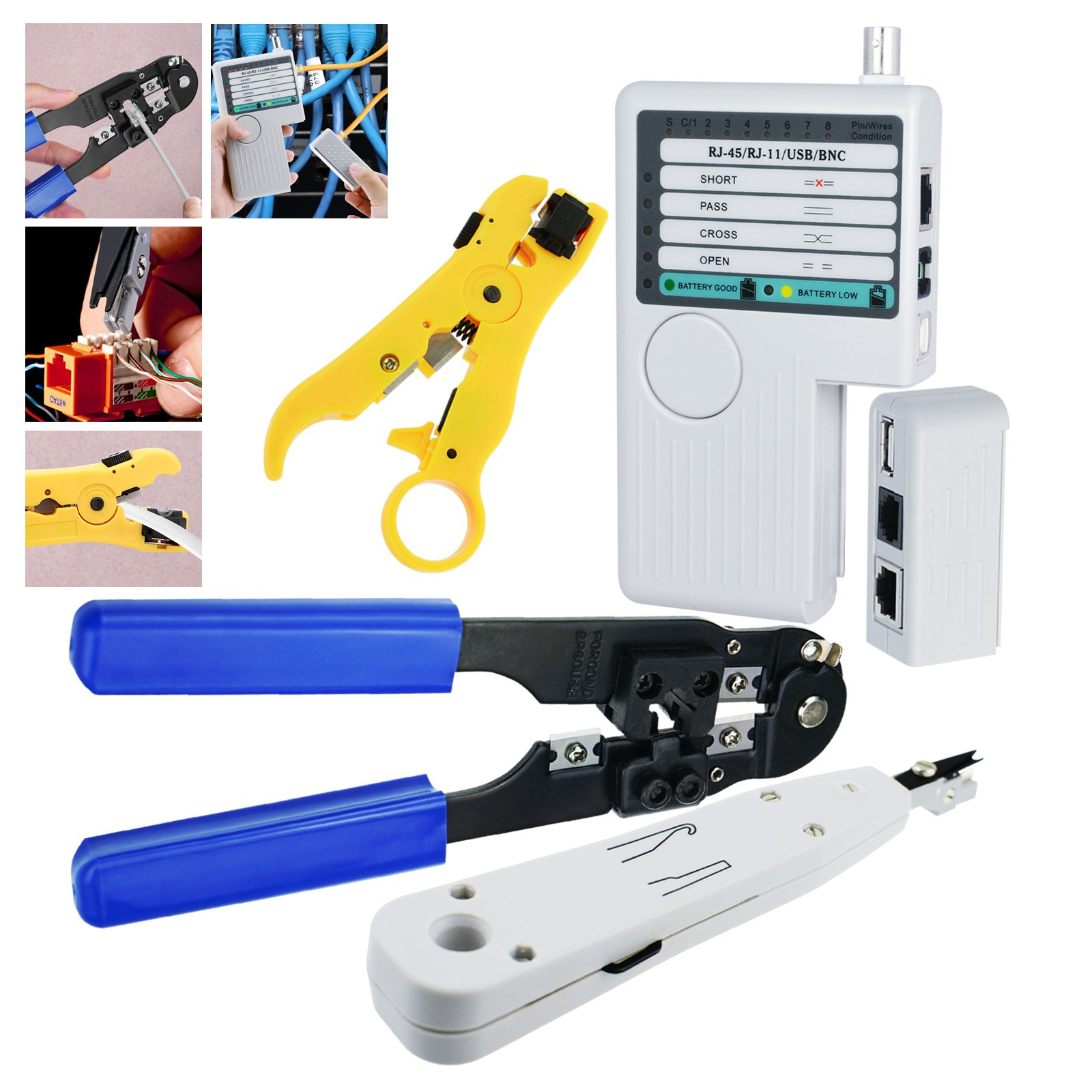 Professional Network Lan Cable Tester Kit Rj45 Plug Crimping Tool A Wiring And Is Used To This Toolkit Consists Of 4 Parts In 1 Wire Stripper Punch Down The Combination