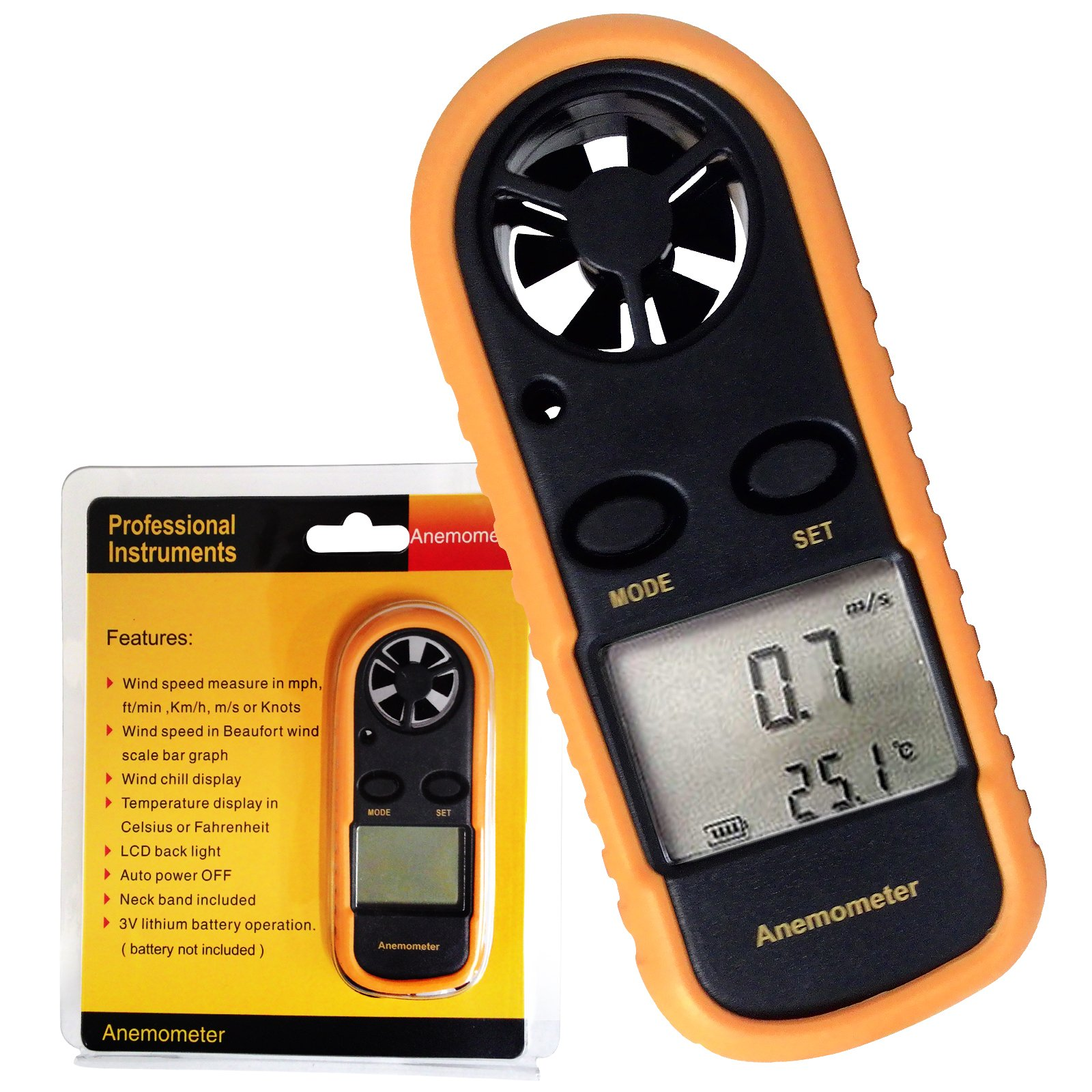 Digital Windmesser Thermometer Luftstrom Messung Wind Rahmen Meter ...
