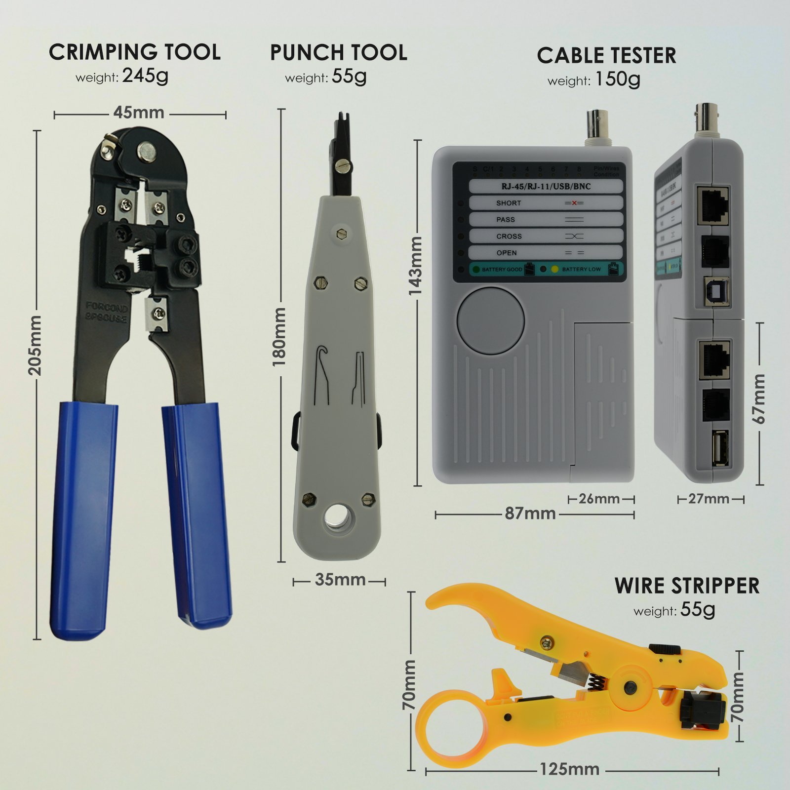 Combo Set Network 4 In 1 Coax Cable Tester Tool Kit Rj45 Rj11 Usb Lan 10base Bnc Rg45 And Etc Circuit Testers This Toolkit Is Consists Of Parts Wire Stripper Plug Crimping Punch Down The Combination