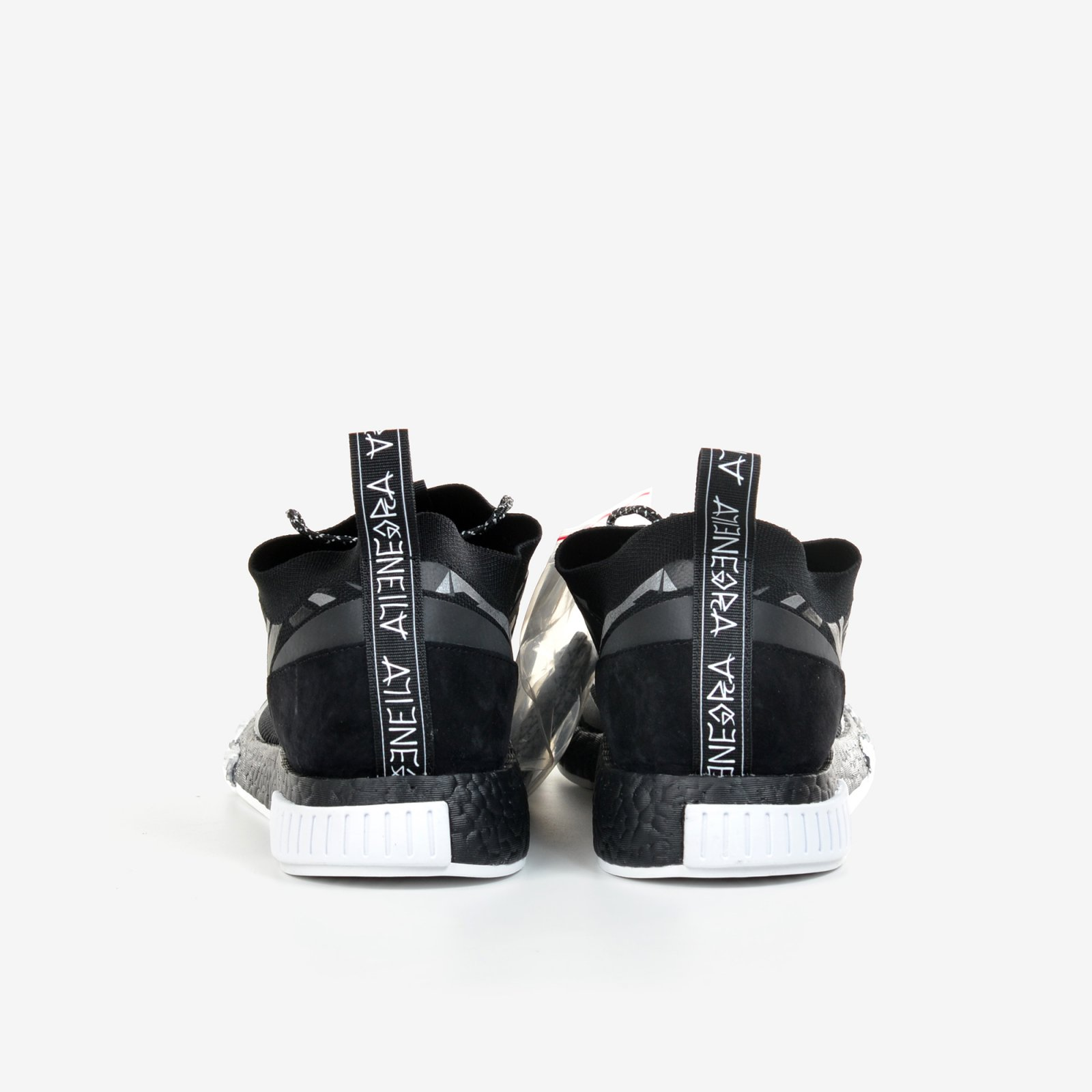 f5aa0763d8f42 Adidas Consortium X Juice NMD Racer Alienegra White Black with Shoe Bag  DB1777. Adidas