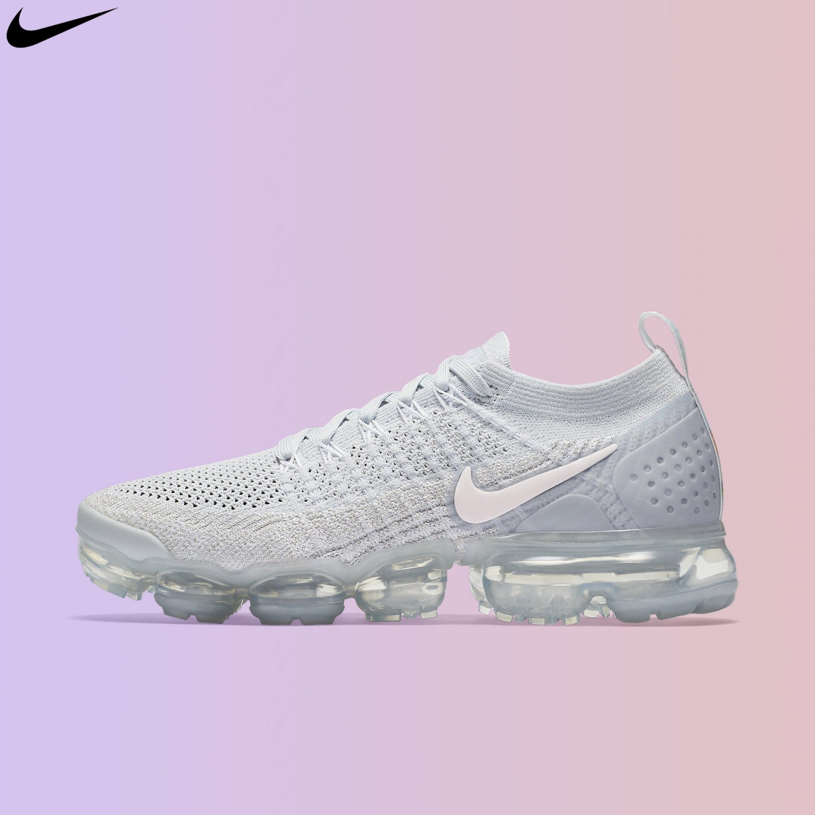Nike Women's Air VaporMax Flyknit 2 Pure Platinum Pink White