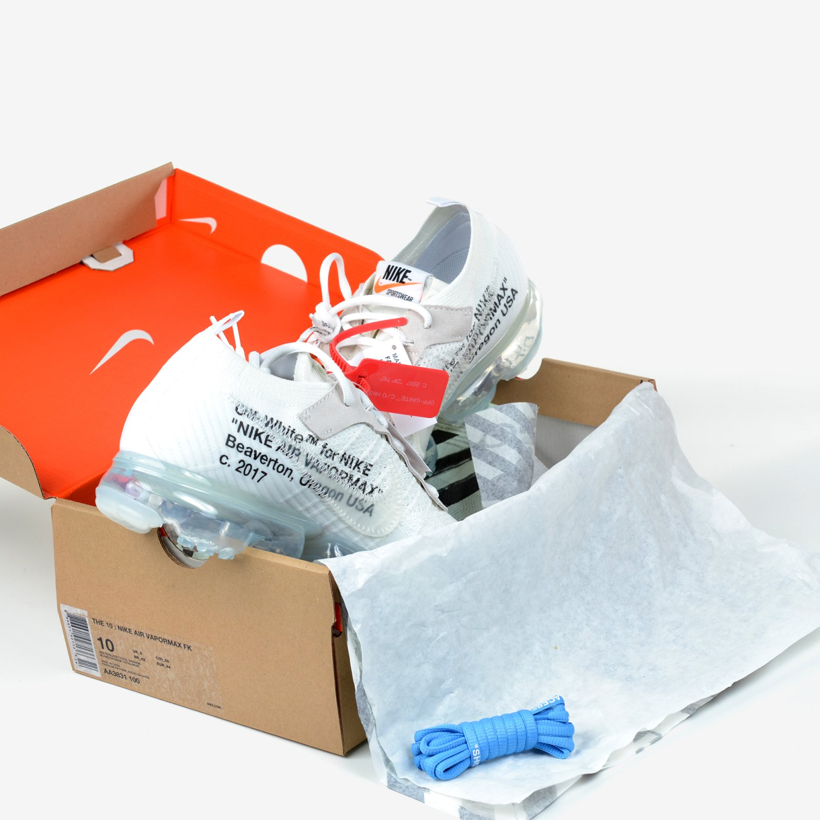 785311b56c25d The 10 Nike Air Vapormax FK Off White Black Clear Total Orange New DS AA3831 -100