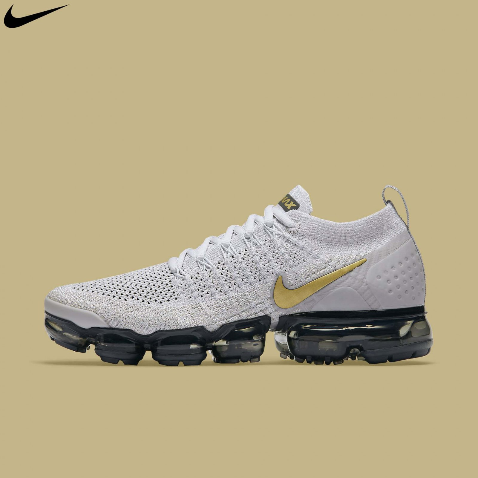 wholesale dealer 2f759 1f8e5 Details about Nike Women's Air Vapormax Flyknit 2 Vast Grey Metallic Gold  Running 942843-010