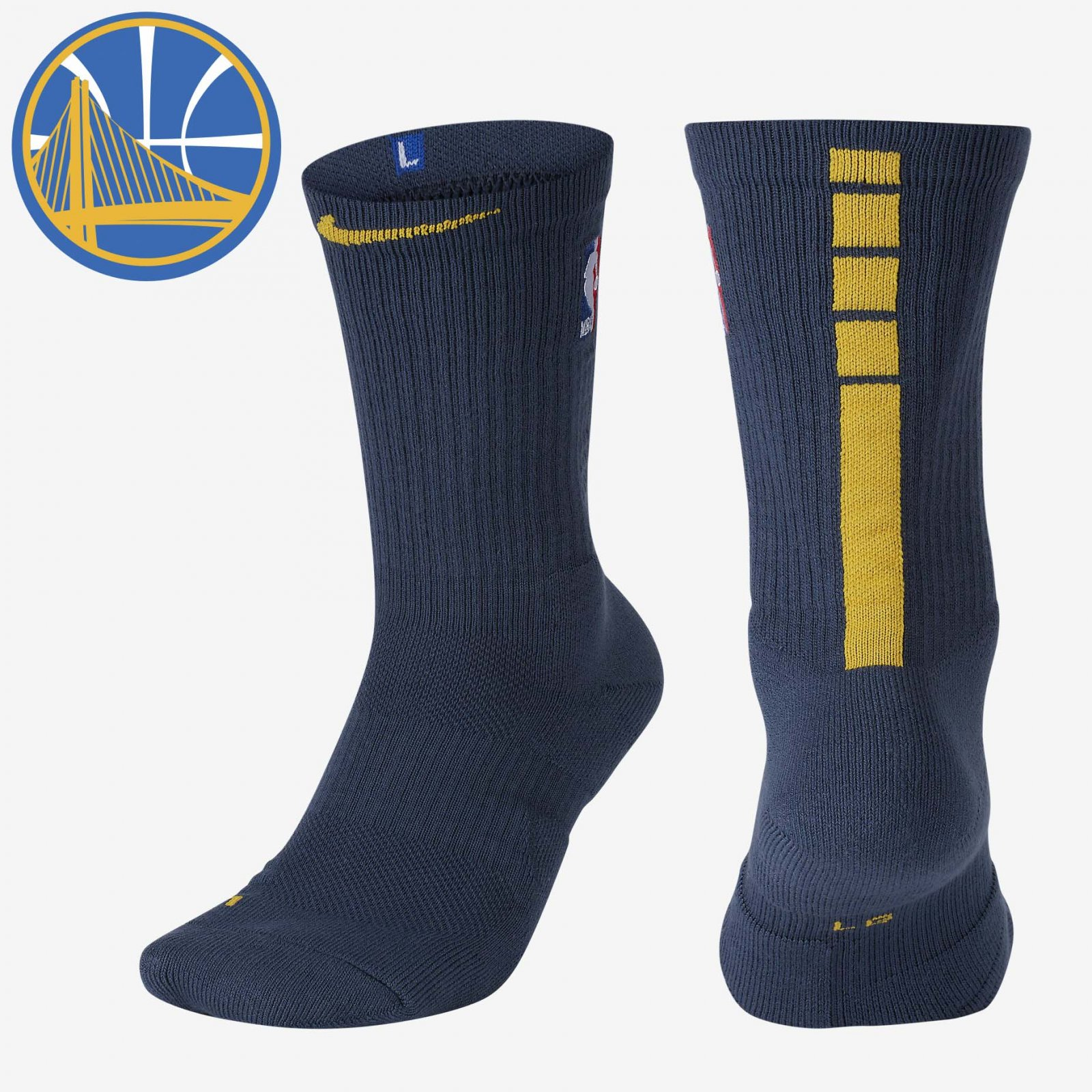 new product 7b23d a4f7c Details about NBA Nike Elite City Edition Crew Golden State Warriors GSW  Socks SX5981-471