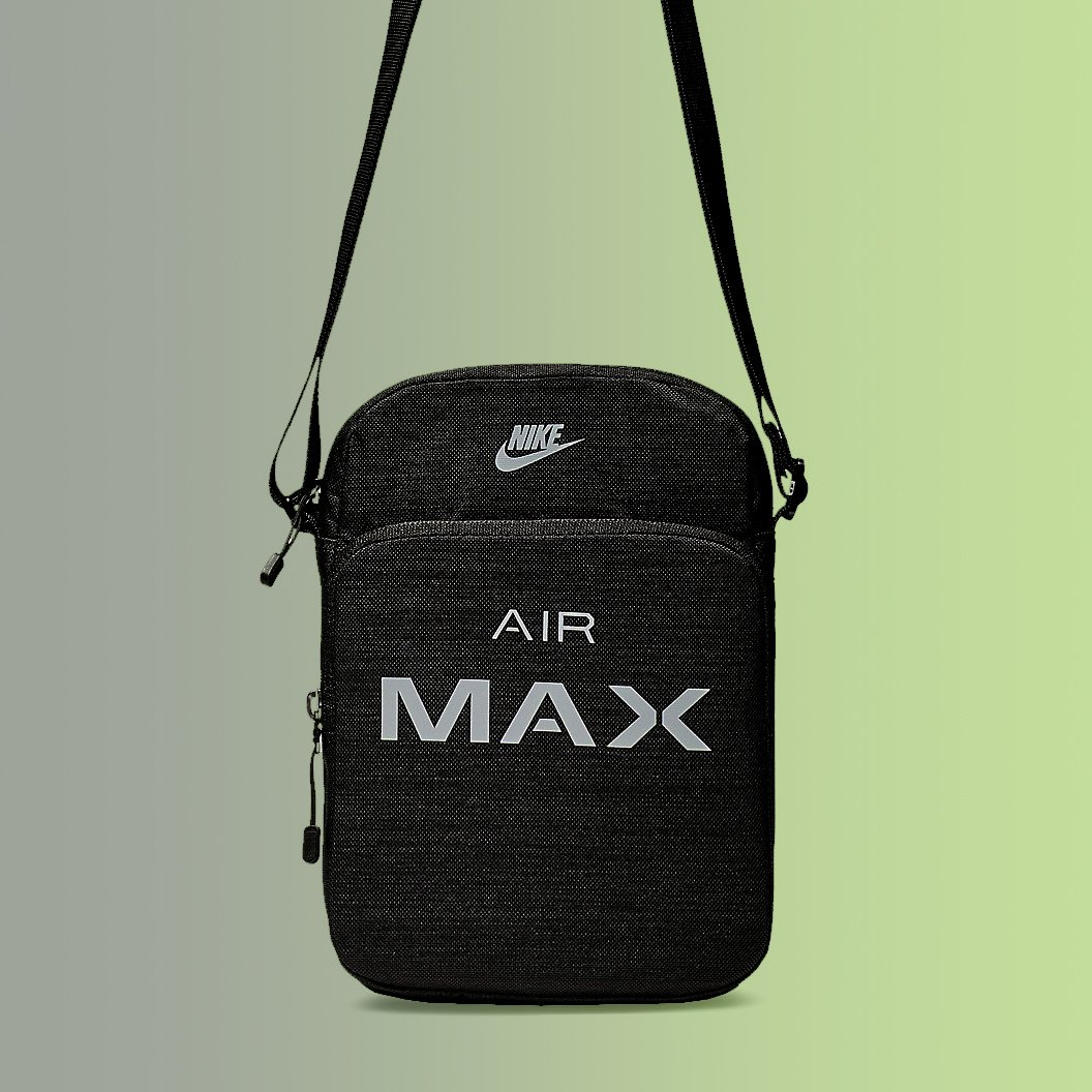 17f3de0602 Details about Nike Air Max Small Items Shoulder Bag Black with 2 Zip  Pockets NWT BA5776-013