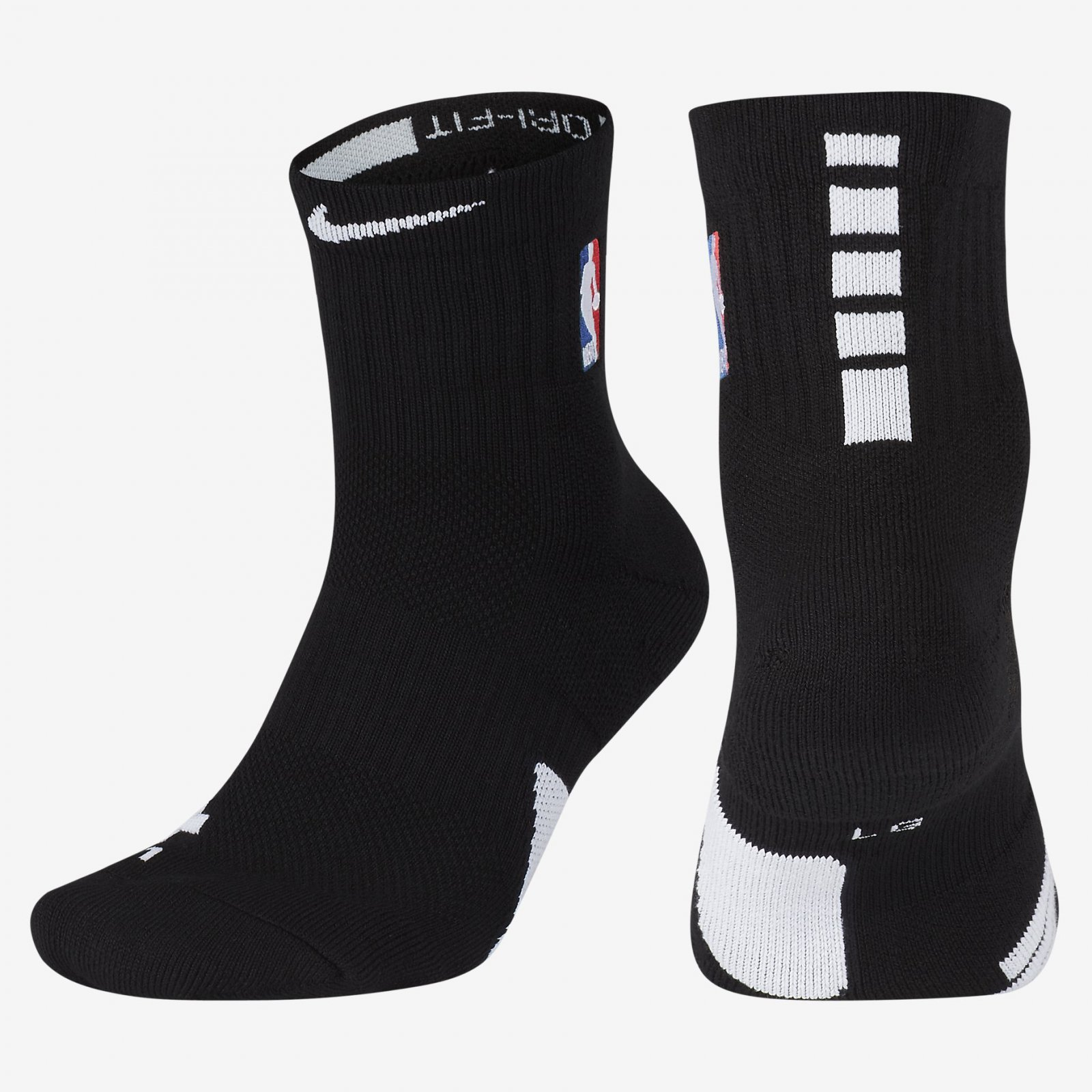 reputable site 86824 9b123 Details about NBA Nike Elite Ankle Cushioned Basketball Mid Crew Black  White Socks SX7588-010