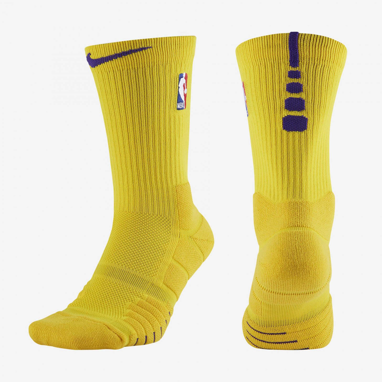 NBA Nike Elite Quick Crew Amarillo Yellow Purple ...