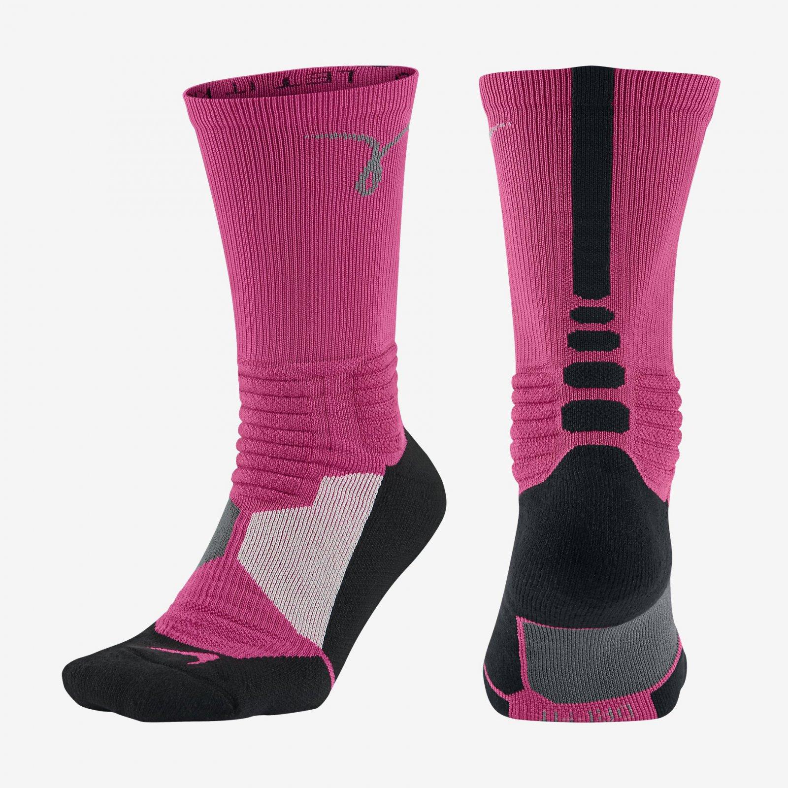 03cbfdefee2b2 Details about Nike Kay Yow Hyper Elite Basketball Think Pink White Crew  Socks SX4967-601