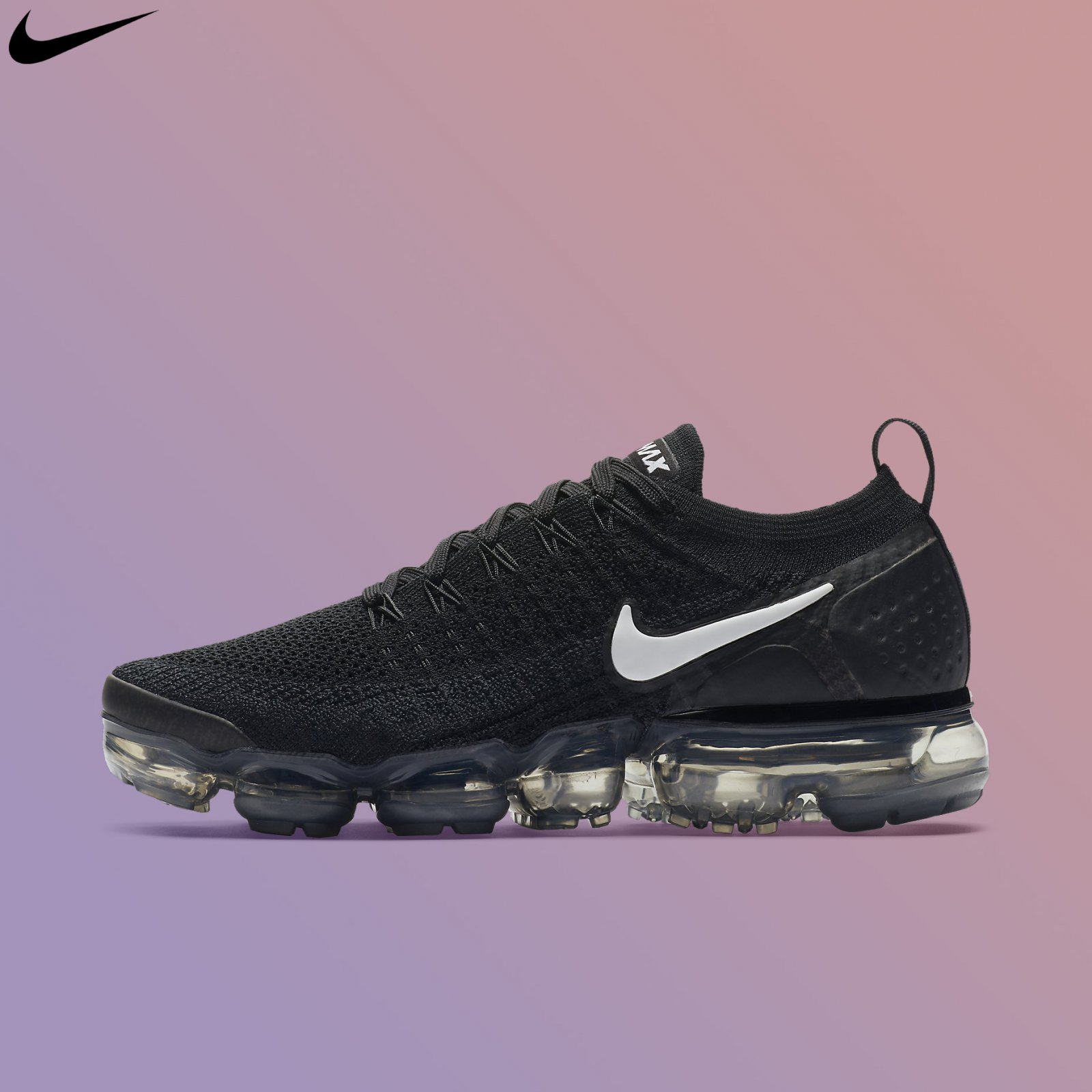 a38c2b778fae9 Nike Women's Air Vapormax Flyknit 2.0 Black White Grey Running Shoes ...