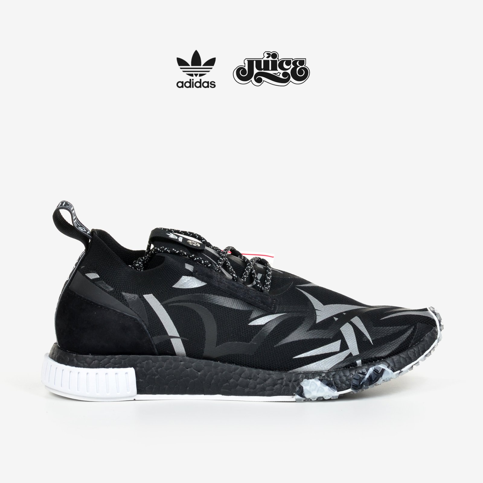 e0106a2647d6a Adidas Consortium X Juice NMD Racer Alienegra White Black with Shoe Bag  DB1777