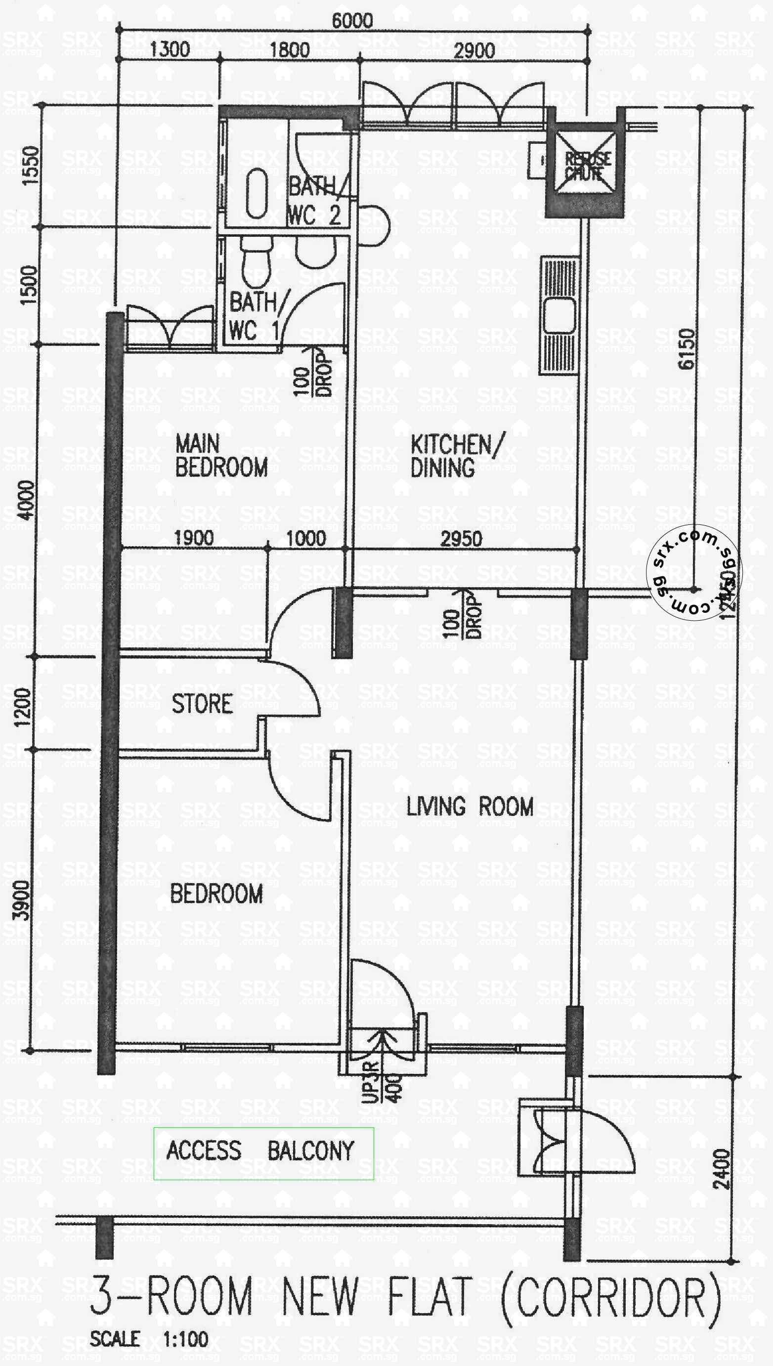 3 room flat floor plan hdb thefloors co for Plan of a flat