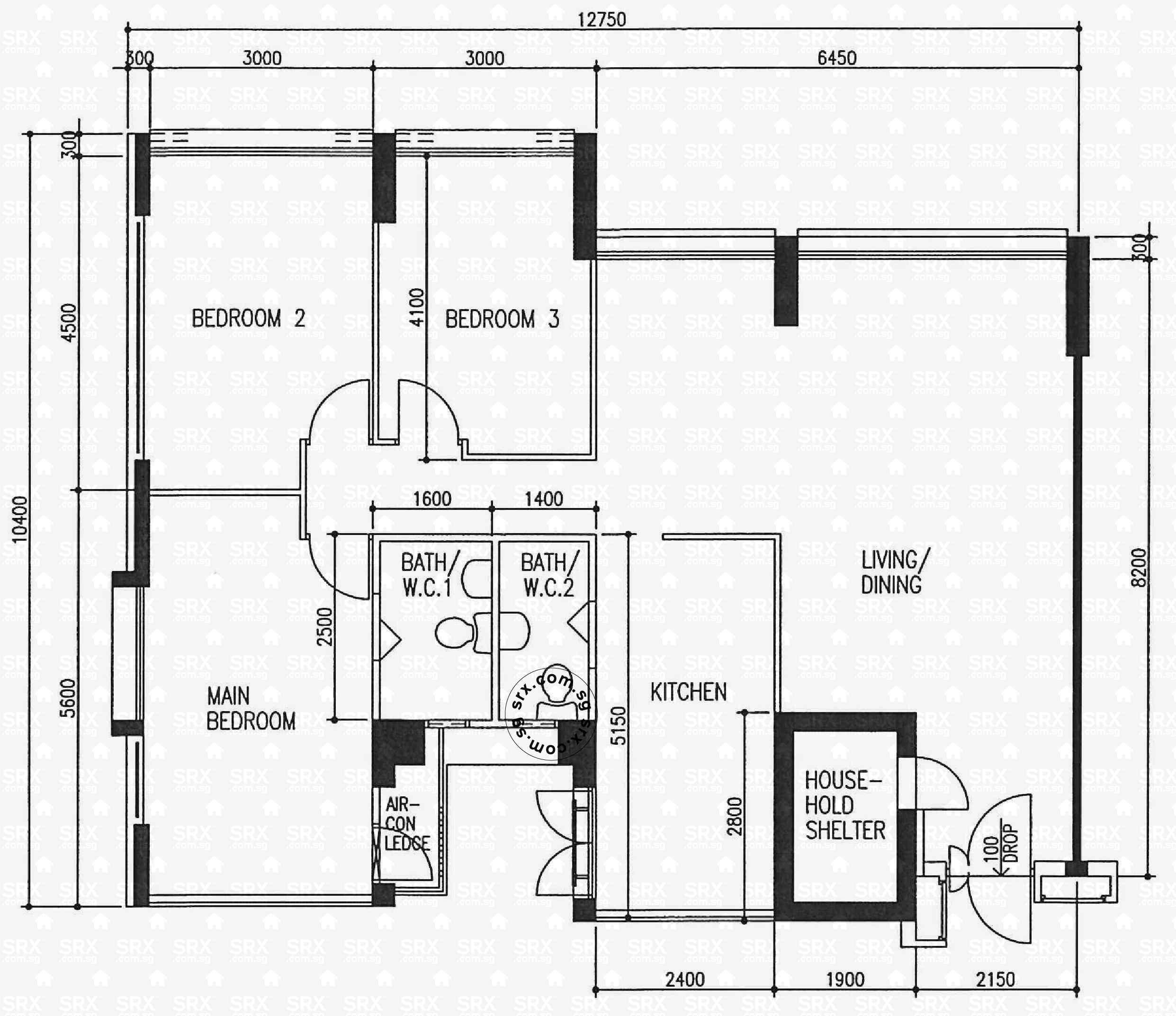 ang mo kio avenue  hdb details  srx property - ang mo kio avenue  floor plan image