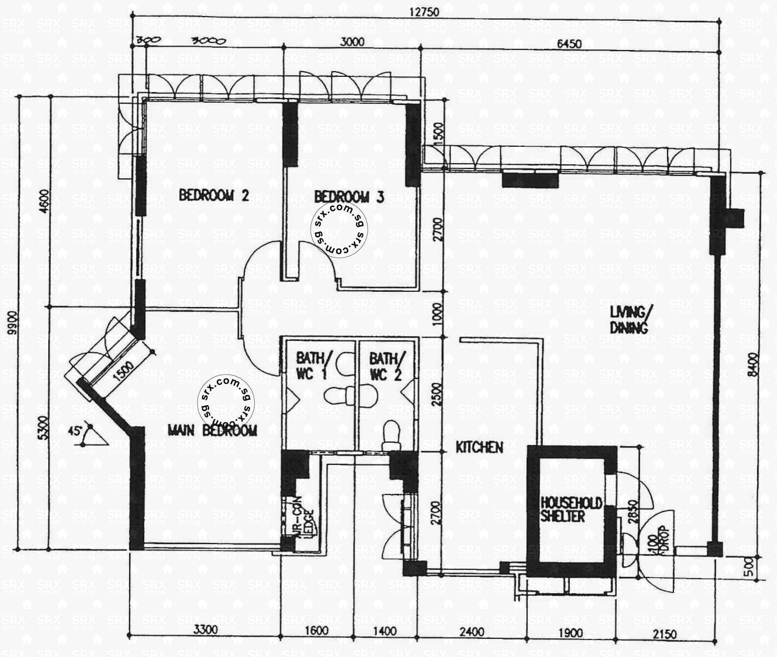 House Floor Plans 50 400 Sqm Designed By Teoalida: Singapore Hdb Unit Block Diagram