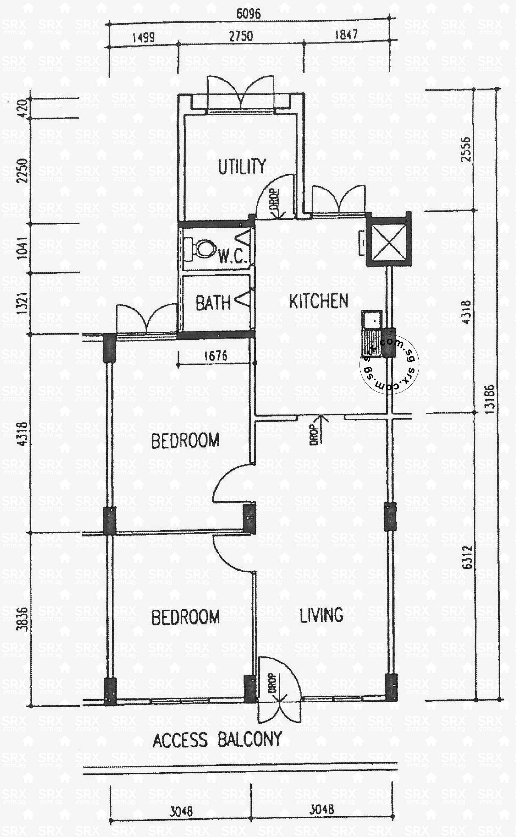 Eunos crescent hdb details srx property for 3 room flat floor plan