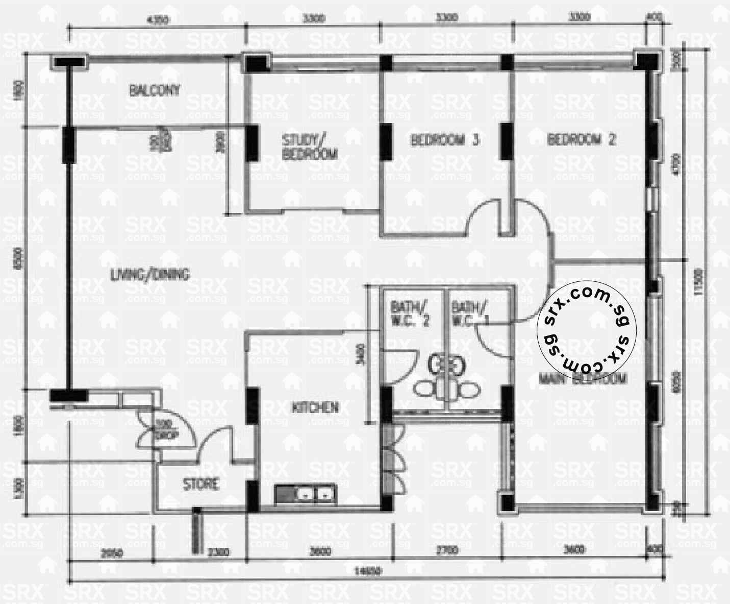 Floor plans for 550 hougang street 51 s 530550 hdb for Plan 51