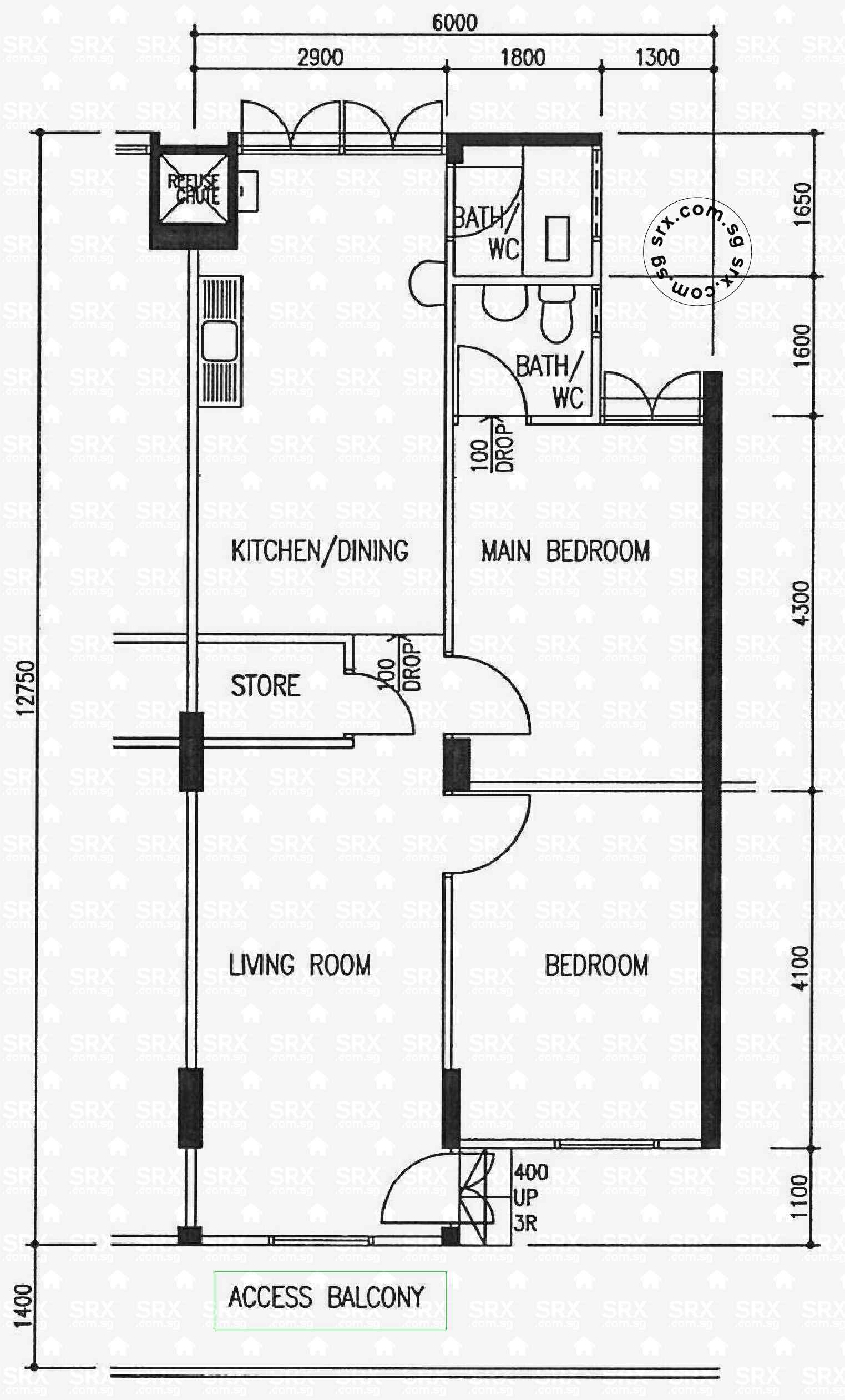Floor plans for hougang avenue 5 hdb details srx property 4 room floor plan