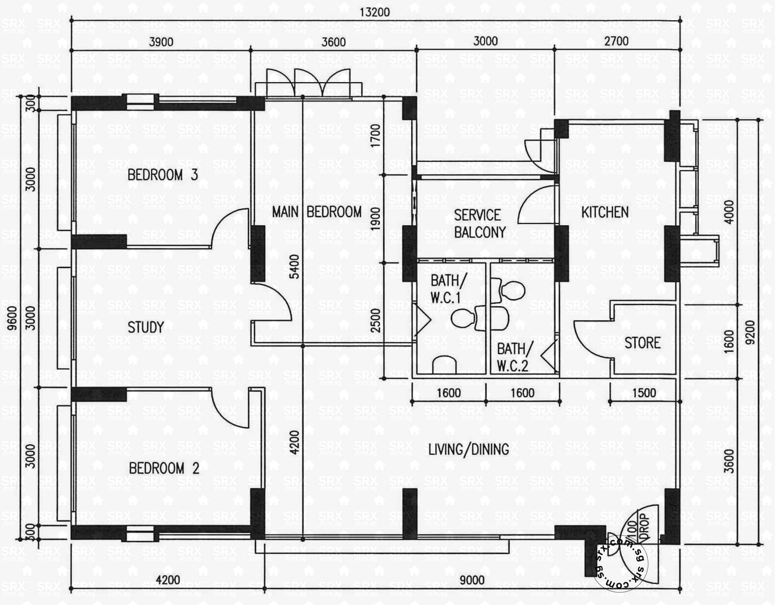 Floor plans for 570 hougang street 51 s 530570 hdb for Plan 51