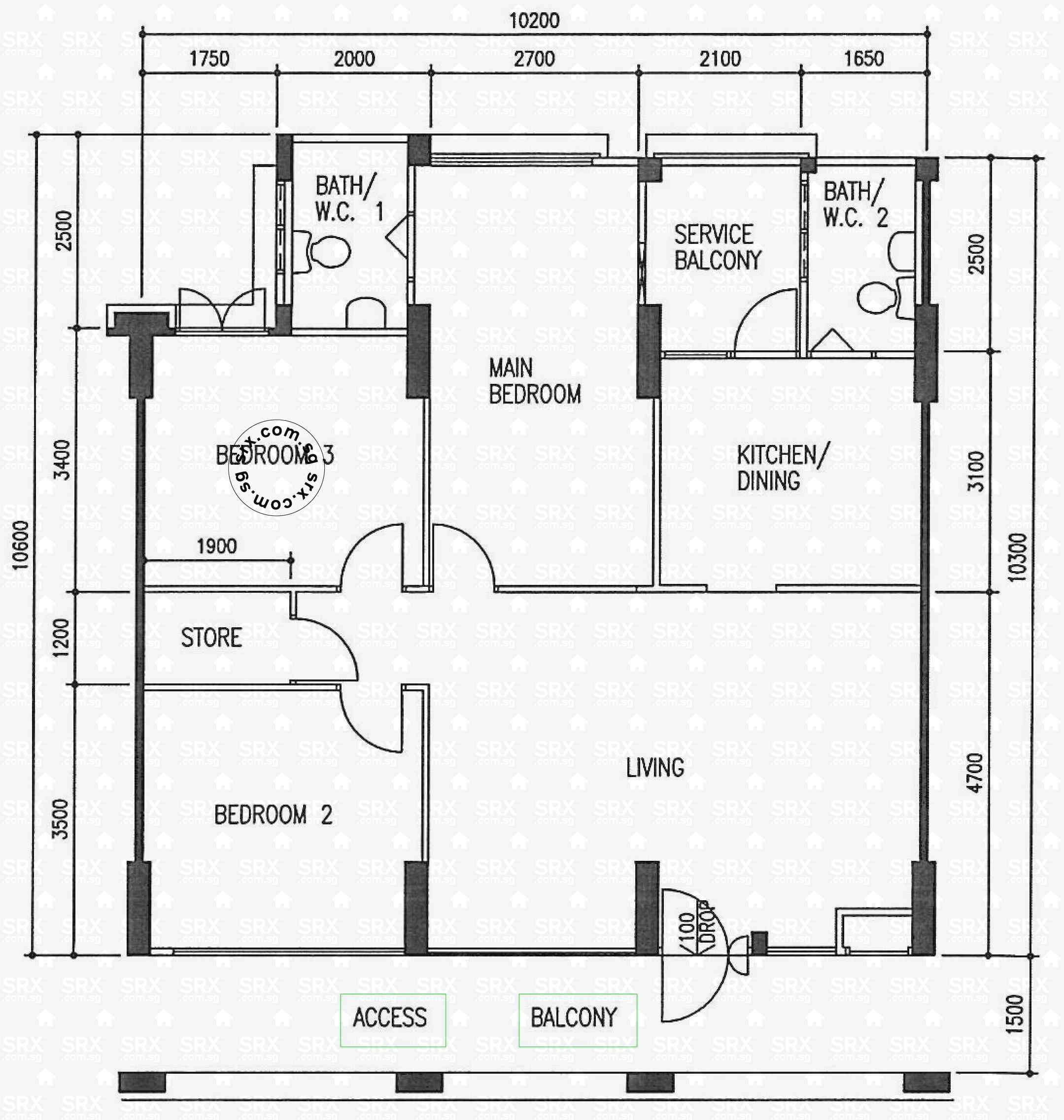 Floor plans for 573 hougang street 51 s 530573 hdb for Plan 51