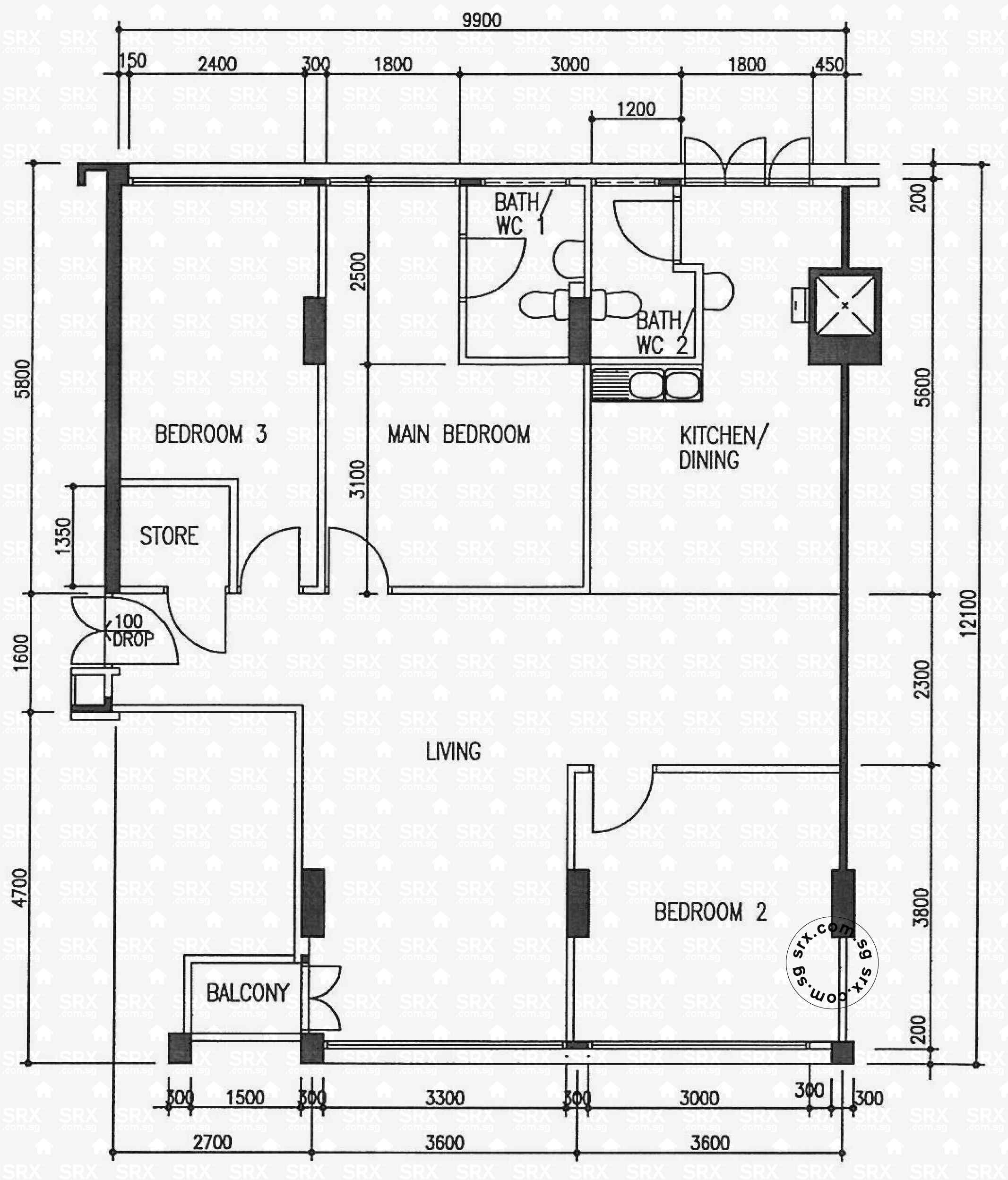 Floor plans for pasir ris street 11 hdb details srx property for 126 simcoe st floor plan
