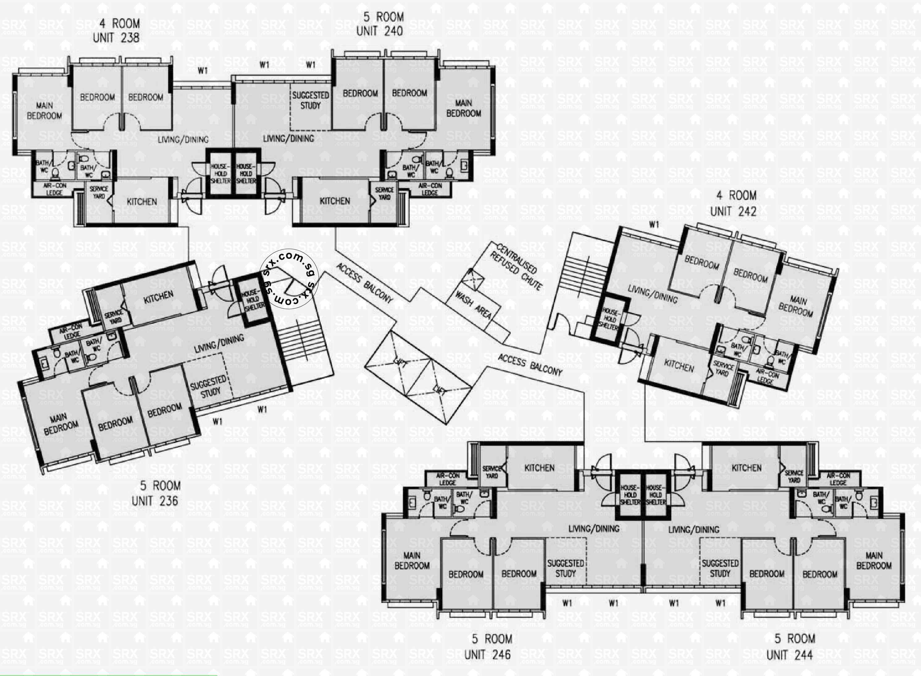Floor plans for 163a rivervale crescent s 541163 hdb for 1077 marinaside crescent floor plan
