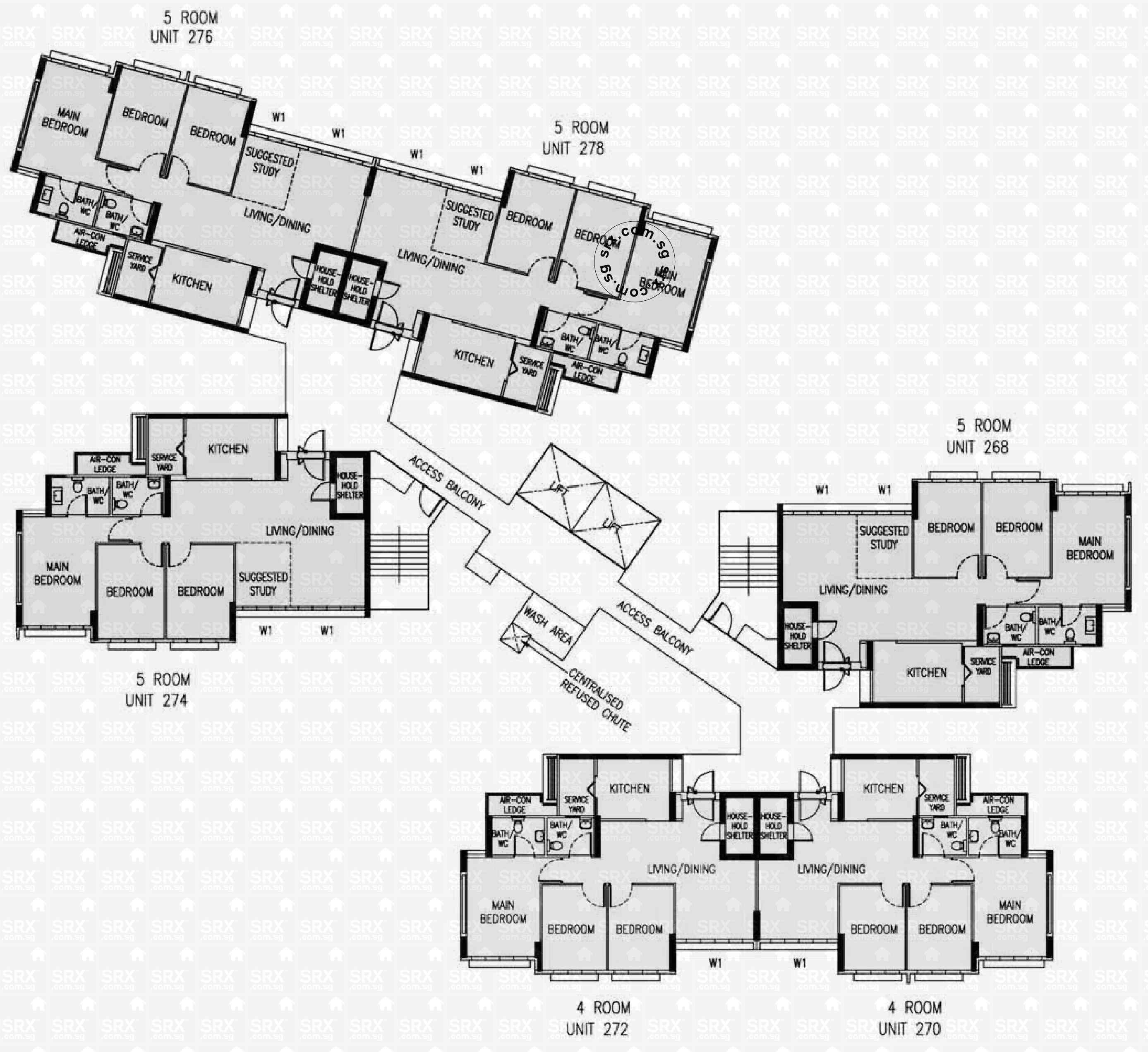Floor plans for 164c rivervale crescent s 543164 hdb for 1077 marinaside crescent floor plan