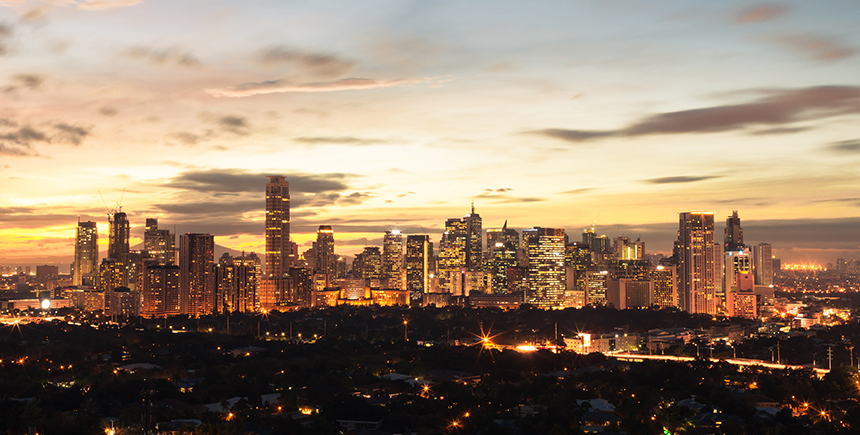 The Manila skyline at dusk