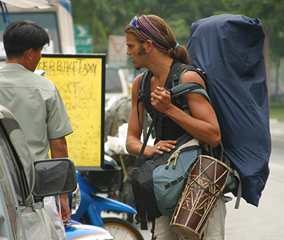A backpacker in Bangkok