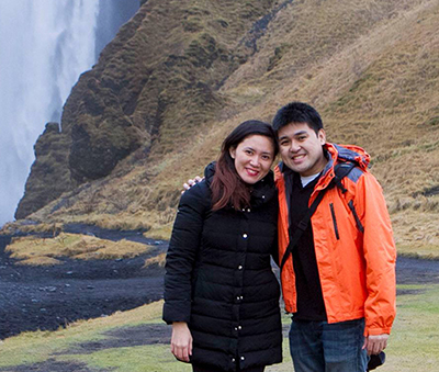 Tippy and Anthony Go at Skógafoss