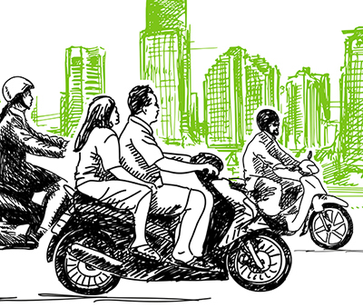 An illustration of three motorcycles, against the backdrop of a city