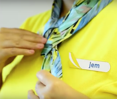 The scarf that's part of Cebu Pacific's new cabin crew uniforms