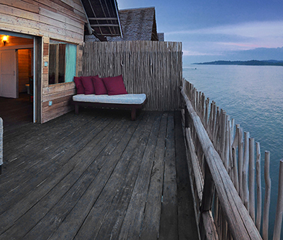 An overwater villa on Telunas Private Island