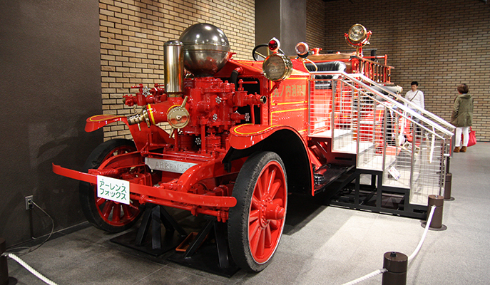 An antique fire truck at the Fire Museum