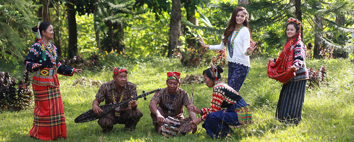 Model Catherine with members of the T'boli tribe