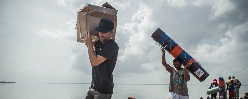 Delivering clean-water filters (Photo by Ethan Lovell)