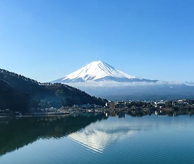 Mount Fuji reflected on the surface of Lake Kawaguchiko