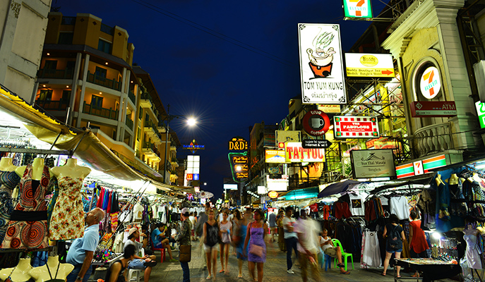 The neon lights of Khao San Road