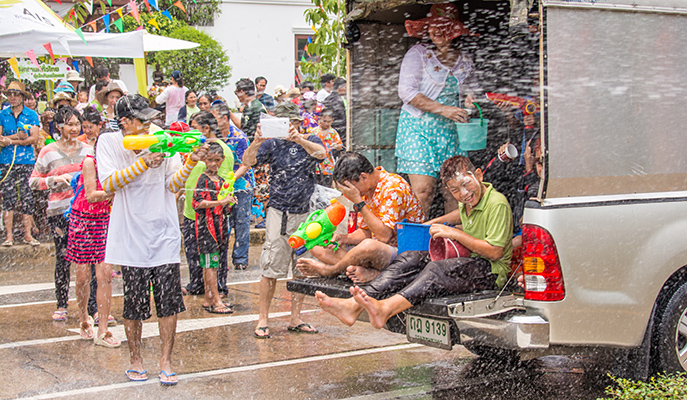 A water fight during Songkran