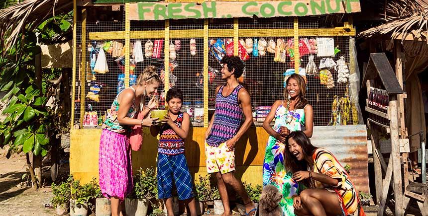 Locals meet at a sari-sari store in Siargao