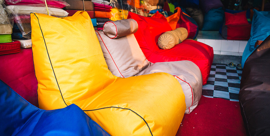 Comfy beanbags from Jaya P. Glass