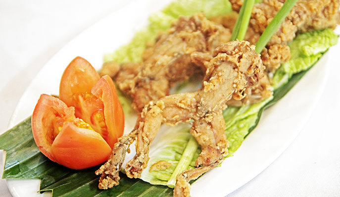 Pritong palaka (fried frog), one of the exotic dishes served in Balaw-balaw
